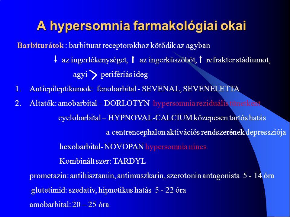 """A hypersomnia farmakológiai okai Sedato-hypnoticumok Barbiturátok Anticonvulziv szerek Benzodiazepinek Nem-benzodiazepinek Antidepresszánsok Antipszichotikumok Antihisztaminok """"Alkohol"""
