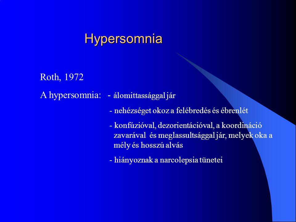 Hypersomnia Roth, 1972 A hypersomnia: - álomittassággal jár - nehézséget okoz a felébredés és ébrenlét - konfúzióval, dezorientációval, a koordináció zavarával és meglassultsággal jár, melyek oka a mély és hosszú alvás - hiányoznak a narcolepsia tünetei