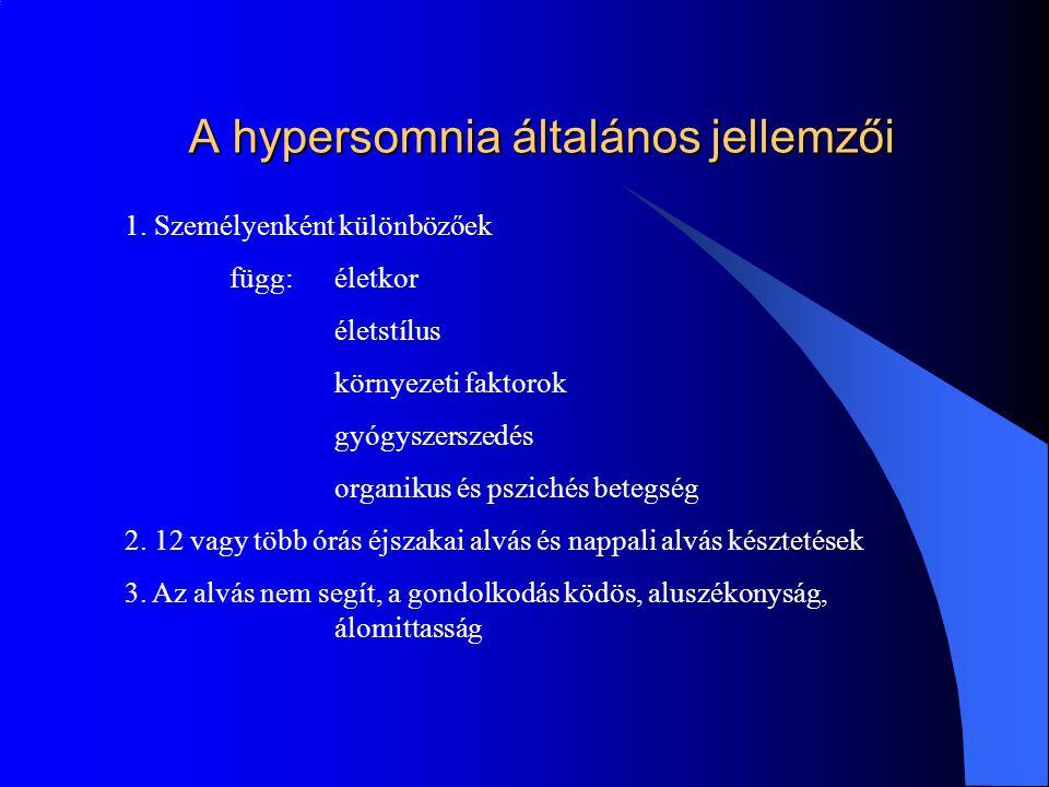 A hypersomnia farmakológiai okai Barbiturátok : barbiturat receptorokhoz kötődik az agyban az ingerlékenységet, az ingerküszöböt, refrakter stádiumot, agyi perifériás ideg 1.Antiepileptikumok: fenobarbital - SEVENAL, SEVENELETTA 2.Altatók: amobarbital – DORLOTYN hypersomnia reziduális tünetként cyclobarbital – HYPNOVAL-CALCIUM közepesen tartós hatás a centrencephalon aktivációs rendszerének depressziója hexobarbital- NOVOPAN hypersomnia nincs Kombinált szer: TARDYL prometazin: antihisztamin, antimuszkarin, szerotonin antagonista 5 - 14 óra glutetimid: szedatív, hipnotikus hatás 5 - 22 óra amobarbital: 20 – 25 óra