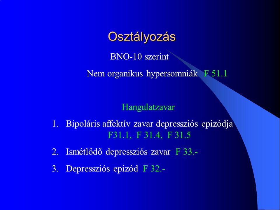 Pszichiátriai vonatkoztatások Álmosság 1.Klinikailag jelentős szenvedést okoz 2.Romlik a szociális funkció introverzió izoláció 3.Foglalkozás ellátásának romlása Egzisztenciális válság