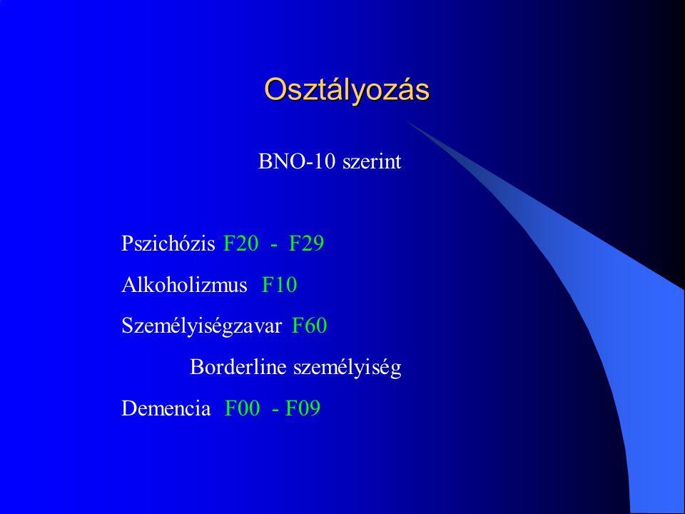 Osztályozás BNO-10 szerint Pszichózis F20 - F29 Alkoholizmus F10 Személyiségzavar F60 Borderline személyiség Demencia F00 - F09