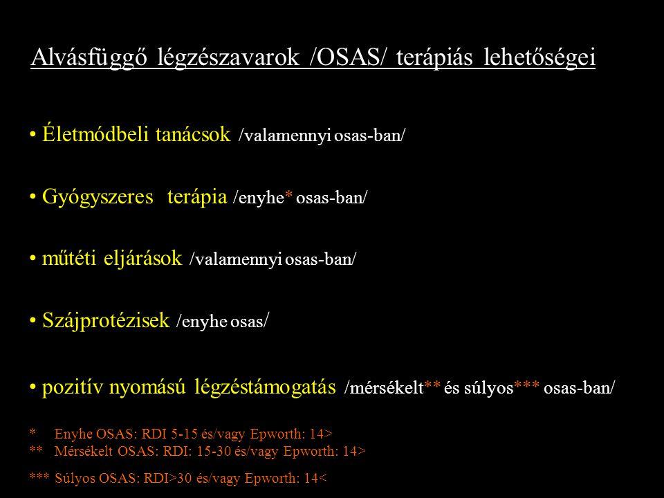 Alvásfüggő légzészavarok /OSAS/ terápiás lehetőségei Életmódbeli tanácsok /valamennyi osas-ban/ Gyógyszeres terápia /enyhe* osas-ban/ műtéti eljárások