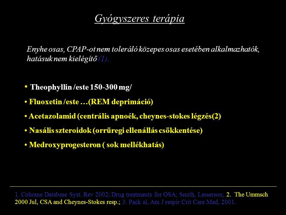 Gyógyszeres terápia Enyhe osas, CPAP-ot nem toleráló közepes osas esetében alkalmazhatók, hatásuk nem kielégítő (1). Theophyllin /este 150-300 mg/ Flu