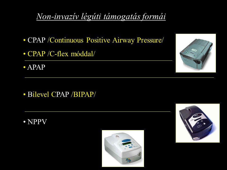 CPAP /Continuous Positive Airway Pressure/ CPAP /C-flex móddal/ APAP Bilevel CPAP /BIPAP/ NPPV Non-invazív légúti támogatás formái