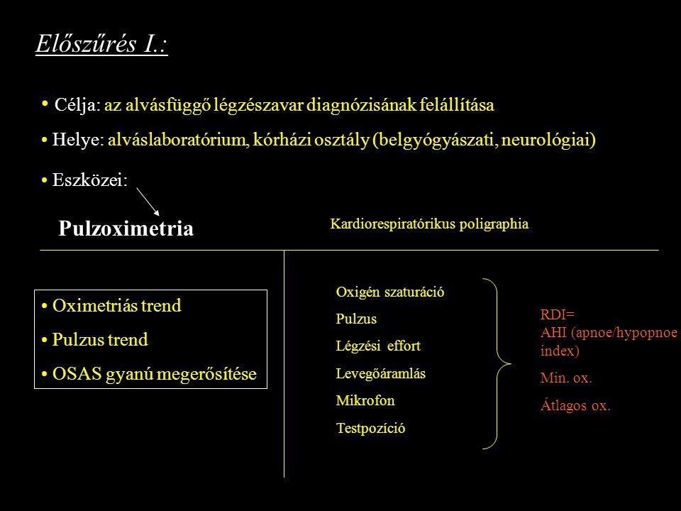 Előszűrés I.: Célja: az alvásfüggő légzészavar diagnózisának felállítása Helye: alváslaboratórium, kórházi osztály (belgyógyászati, neurológiai) Eszkö