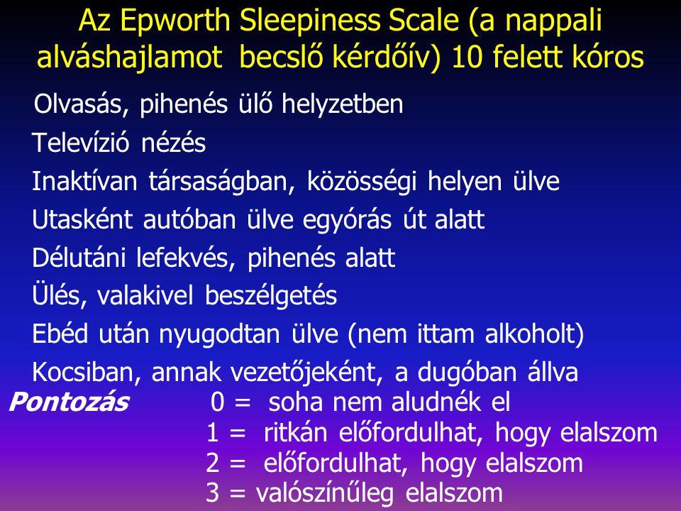 POLISZOMNOGRÁFIÁVAL TISZTÁZHATÓ JELLEMZŐK NARCOLEPSIÁBAN  Töredezett éjszakai alvás  3., 4. stádium arány  Éjjeli alvásmennyiség  Alváskezdeti REM