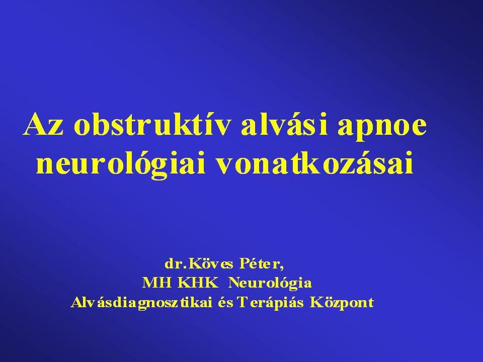 Obstruktív alvási apnoe definició VVVVVVVVvv Kizárólag alvás alatt a szájgarat >10 sec tartamra ismételten el- záródik(1a) és/vagy beszűkül.
