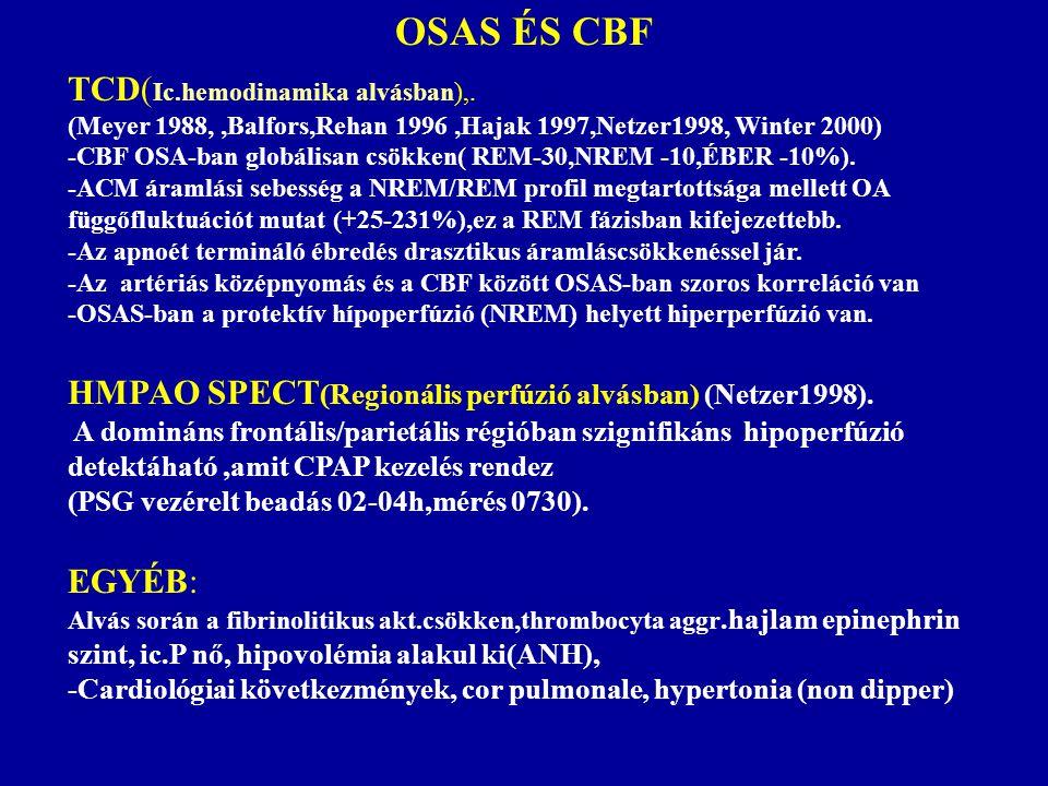 OSAS ÉS CBF TCD( Ic.hemodinamika alvásban),. (Meyer 1988,,Balfors,Rehan 1996,Hajak 1997,Netzer1998, Winter 2000) -CBF OSA-ban globálisan csökken( REM-