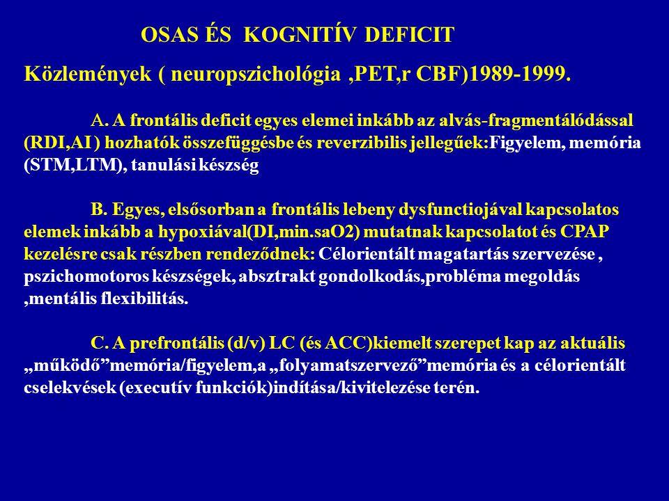 OSAS ÉS KOGNITÍV DEFICIT Közlemények ( neuropszichológia,PET,r CBF)1989-1999. A. A frontális deficit egyes elemei inkább az alvás-fragmentálódással (R