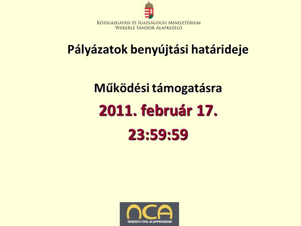 Pályázatok benyújtási határideje Működési támogatásra 2011. február 17. 23:59:59