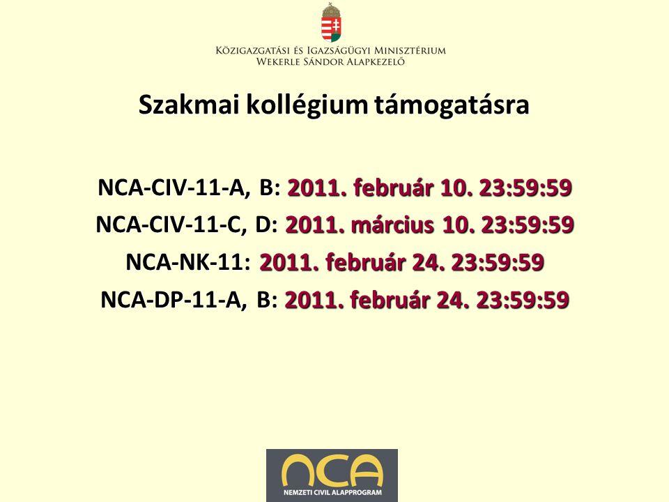 Szakmai kollégium támogatásra NCA-CIV-11-A, B: 2011.
