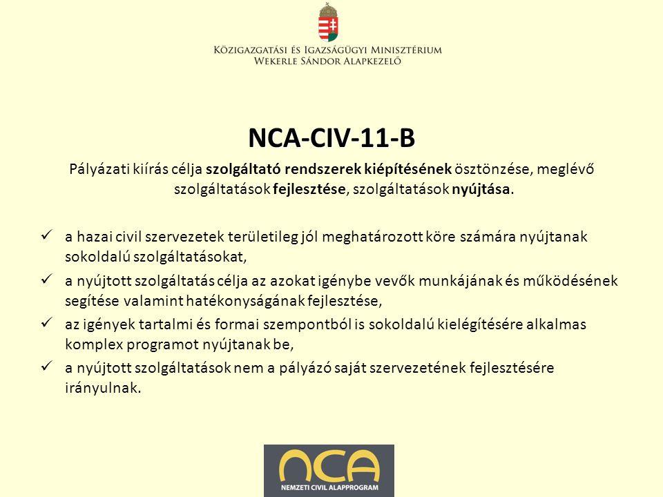 NCA-CIV-11-B Pályázati kiírás célja szolgáltató rendszerek kiépítésének ösztönzése, meglévő szolgáltatások fejlesztése, szolgáltatások nyújtása.