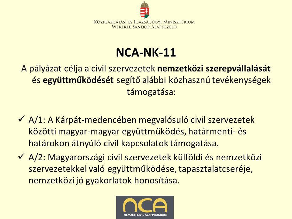NCA-NK-11 A pályázat célja a civil szervezetek nemzetközi szerepvállalását és együttműködését segítő alábbi közhasznú tevékenységek támogatása: A/1: A Kárpát-medencében megvalósuló civil szervezetek közötti magyar-magyar együttműködés, határmenti- és határokon átnyúló civil kapcsolatok támogatása.