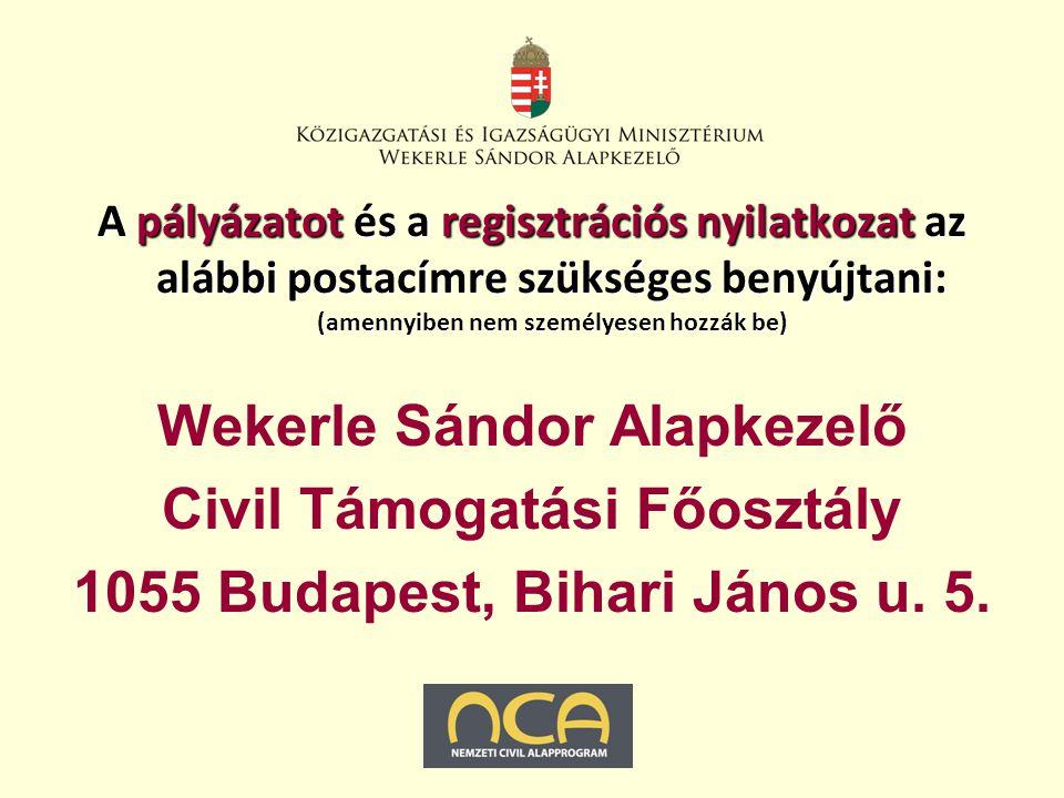 A pályázatot és a regisztrációs nyilatkozat az alábbi postacímre szükséges benyújtani: (amennyiben nem személyesen hozzák be) Wekerle Sándor Alapkezelő Civil Támogatási Főosztály 1055 Budapest, Bihari János u.