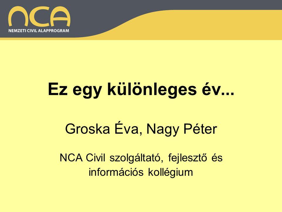 Ez egy különleges év... Groska Éva, Nagy Péter NCA Civil szolgáltató, fejlesztő és információs kollégium