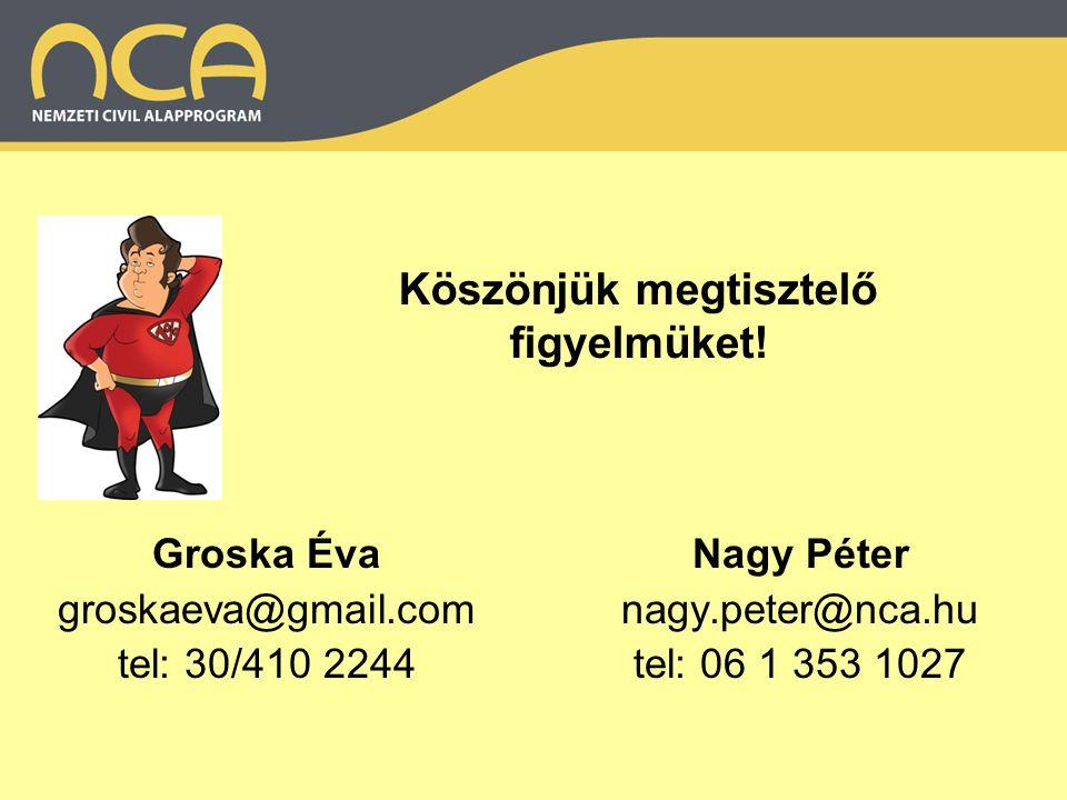 Köszönjük megtisztelő figyelmüket! Nagy Péter nagy.peter@nca.hu tel: 06 1 353 1027 Groska Éva groskaeva@gmail.com tel: 30/410 2244