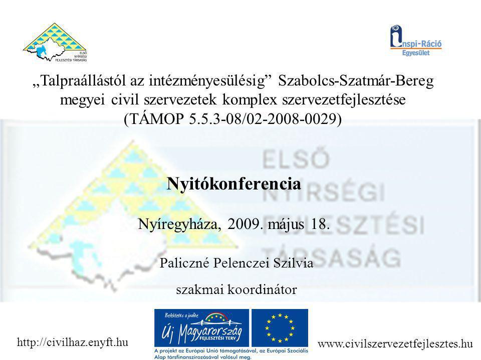 """""""Talpraállástól az intézményesülésig Szabolcs-Szatmár-Bereg megyei civil szervezetek komplex szervezetfejlesztése (TÁMOP 5.5.3-08/02-2008-0029) A konzorcium Főpályázó: Első Nyírségi Fejlesztési Társaság (AL-1533, Fnysz: 15-0234-04) Konzorciumi partner: Inspi-Ráció Egyesület"""