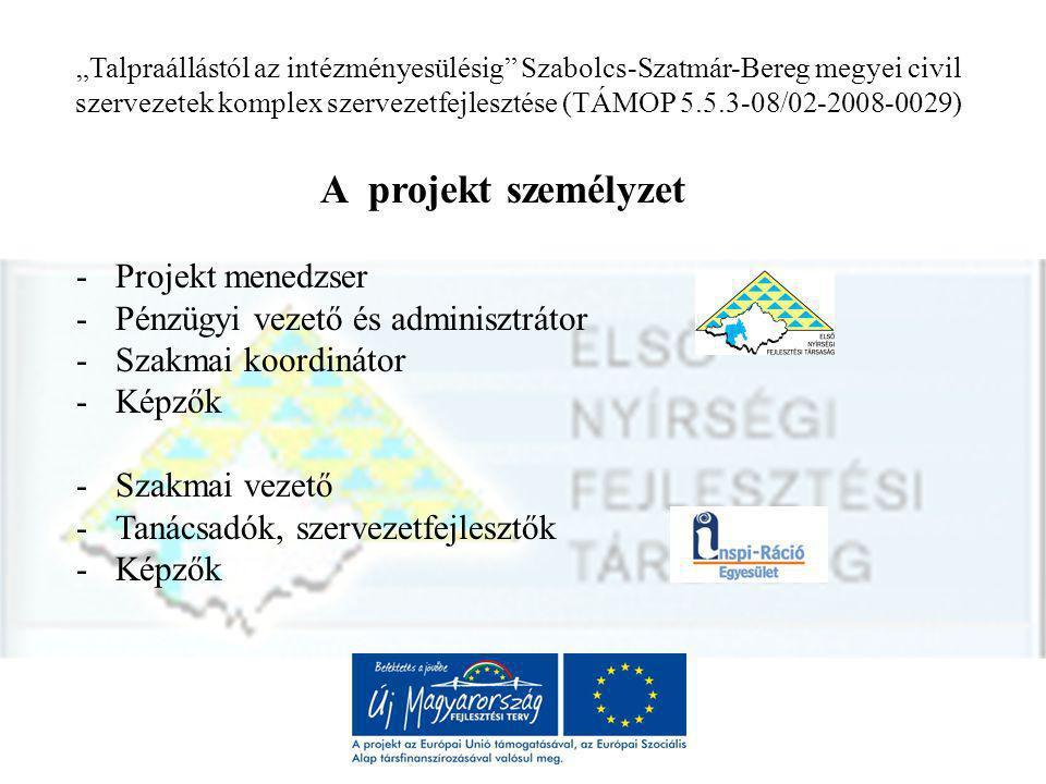 """""""Talpraállástól az intézményesülésig Szabolcs-Szatmár-Bereg megyei civil szervezetek komplex szervezetfejlesztése (TÁMOP 5.5.3-08/02-2008-0029) A projekt célja 1."""