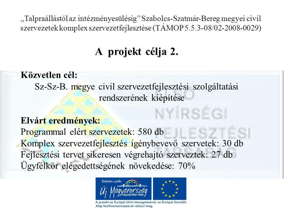 """""""Talpraállástól az intézményesülésig Szabolcs-Szatmár-Bereg megyei civil szervezetek komplex szervezetfejlesztése (TÁMOP 5.5.3-08/02-2008-0029) A projekt célja 2."""