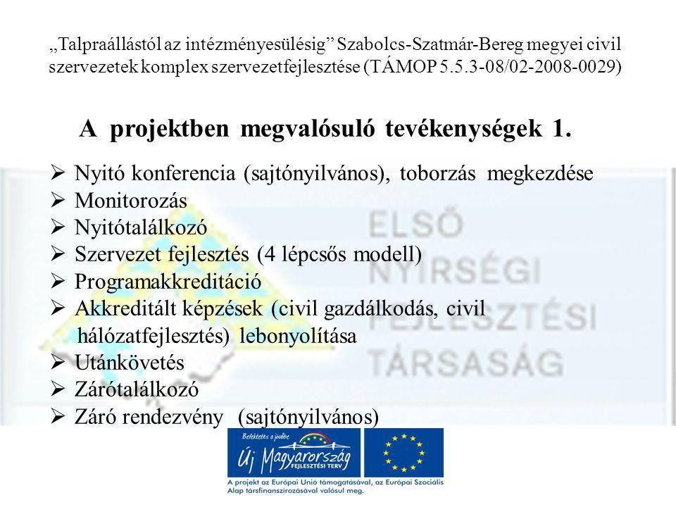 """""""Talpraállástól az intézményesülésig Szabolcs-Szatmár-Bereg megyei civil szervezetek komplex szervezetfejlesztése (TÁMOP 5.5.3-08/02-2008-0029) A projektben megvalósuló tevékenységek 1."""