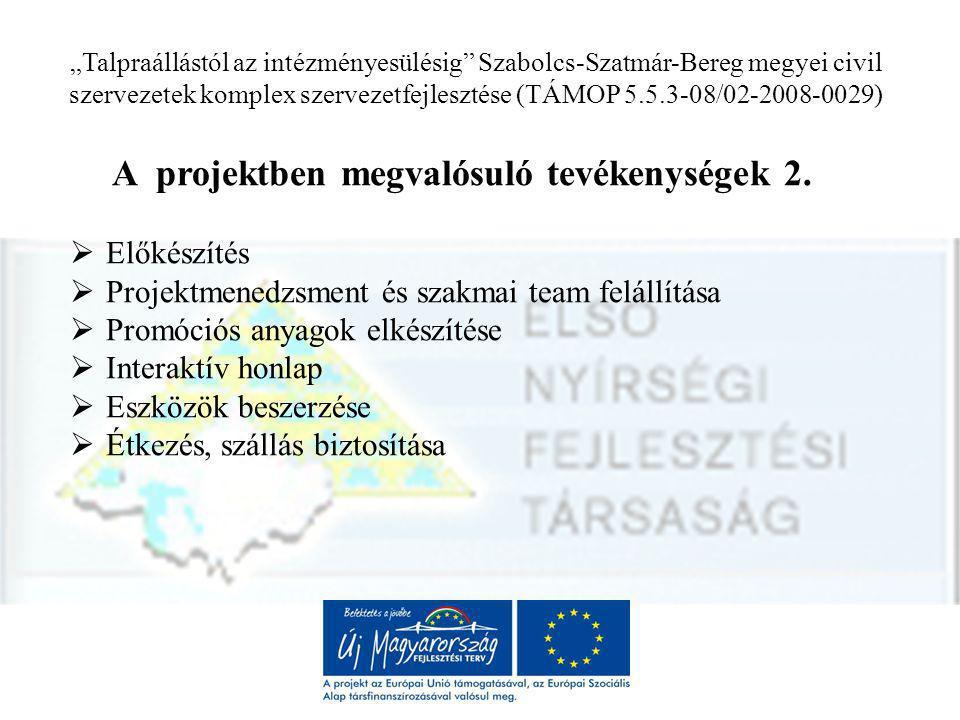 """""""Talpraállástól az intézményesülésig Szabolcs-Szatmár-Bereg megyei civil szervezetek komplex szervezetfejlesztése (TÁMOP 5.5.3-08/02-2008-0029) A projekt ütemezése 2009."""