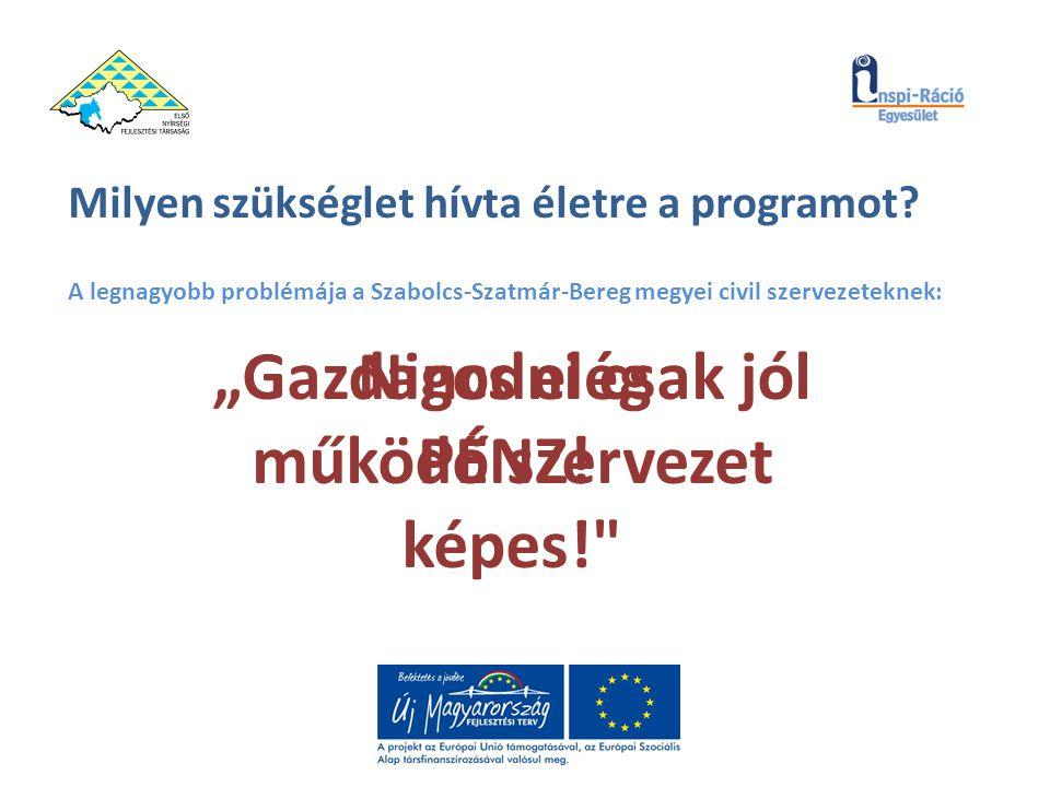 """Milyen szükséglet hívta életre a programot? A legnagyobb problémája a Szabolcs-Szatmár-Bereg megyei civil szervezeteknek: """"Gazdagodni csak jól működő"""