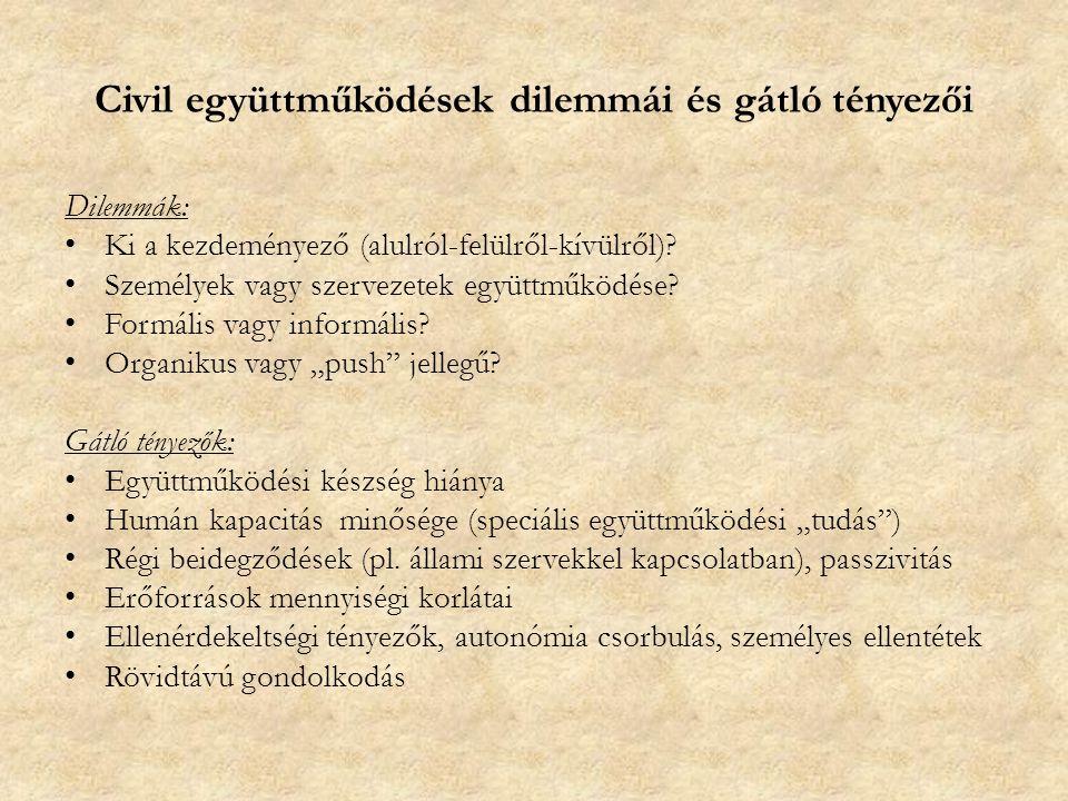 Civil együttműködések dilemmái és gátló tényezői Dilemmák: Ki a kezdeményező (alulról-felülről-kívülről).