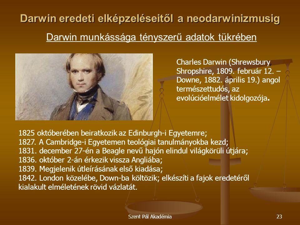 Szent Pál Akadémia23 Darwin eredeti elképzeléseitől a neodarwinizmusig Darwin eredeti elképzeléseitől a neodarwinizmusig Darwin munkássága tényszerű a