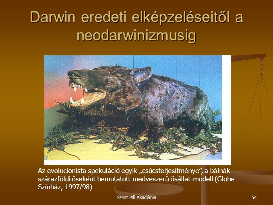 """Szent Pál Akadémia54 Darwin eredeti elképzeléseitől a neodarwinizmusig Az evolucionista spekuláció egyik """"csúcsteljesítménye"""", a bálnák szárazföldi ős"""