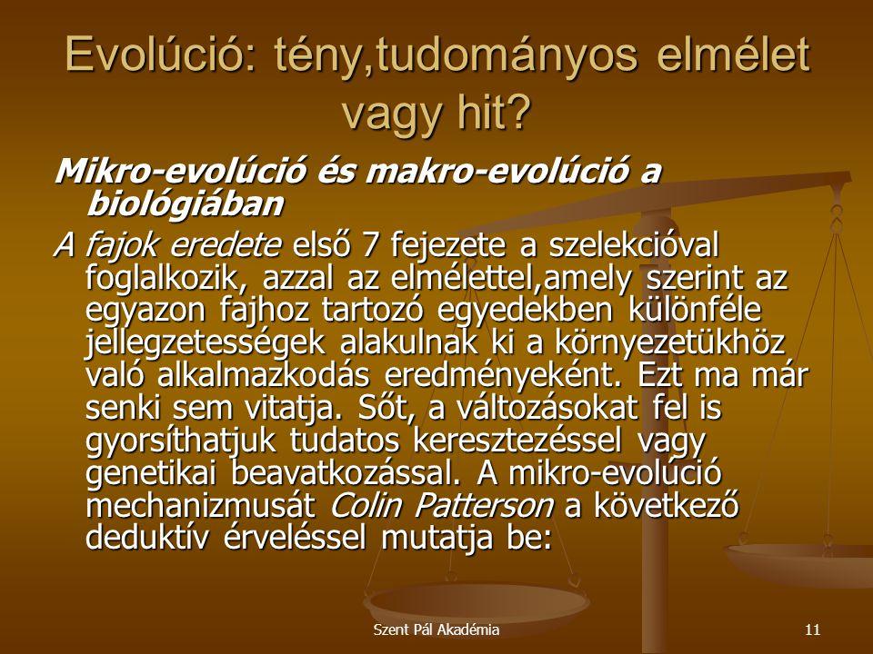 Szent Pál Akadémia11 Evolúció: tény,tudományos elmélet vagy hit? Mikro-evolúció és makro-evolúció a biológiában A fajok eredete első 7 fejezete a szel