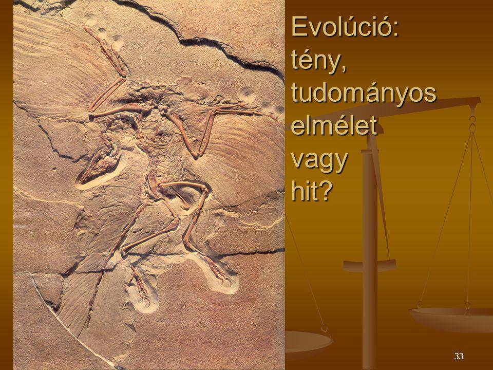 Szent Pál Akadémia33 Evolúció: tény, tudományos elmélet vagy hit?