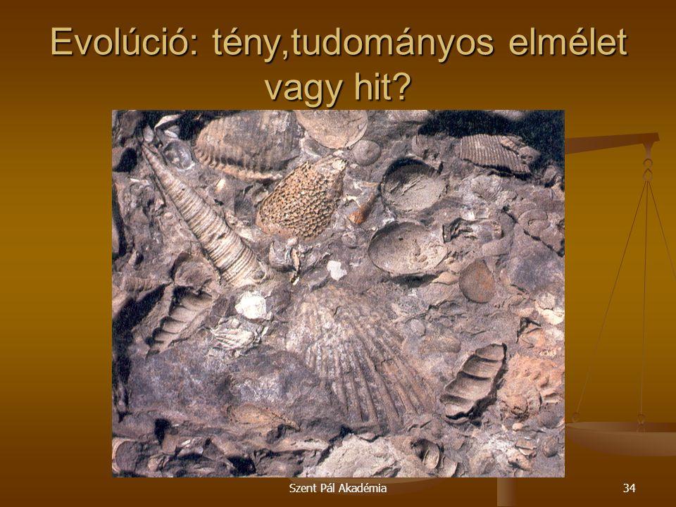 Szent Pál Akadémia34 Evolúció: tény,tudományos elmélet vagy hit?