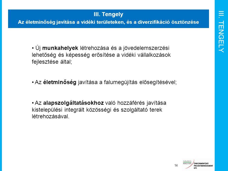 III. TENGELY III. Tengely Az életminőség javítása a vidéki területeken, és a diverzifikáció ösztönzése 14 Új munkahelyek létrehozása és a jövedelemsze