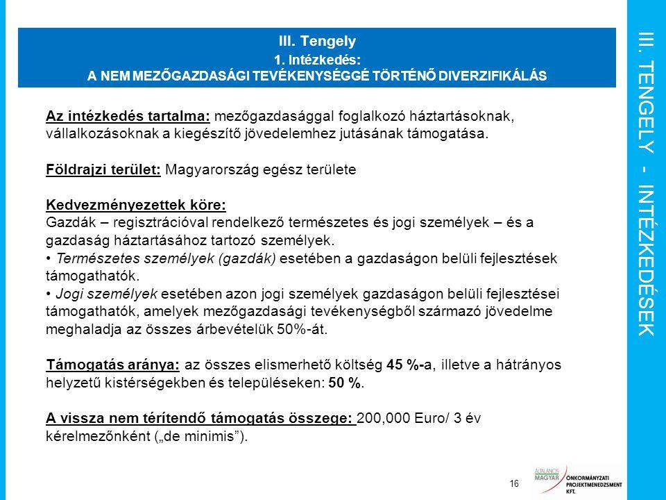 III. TENGELY - INTÉZKEDÉSEK III. Tengely 1. Intézkedés: A NEM MEZŐGAZDASÁGI TEVÉKENYSÉGGÉ TÖRTÉNŐ DIVERZIFIKÁLÁS 16 Az intézkedés tartalma: mezőgazdas