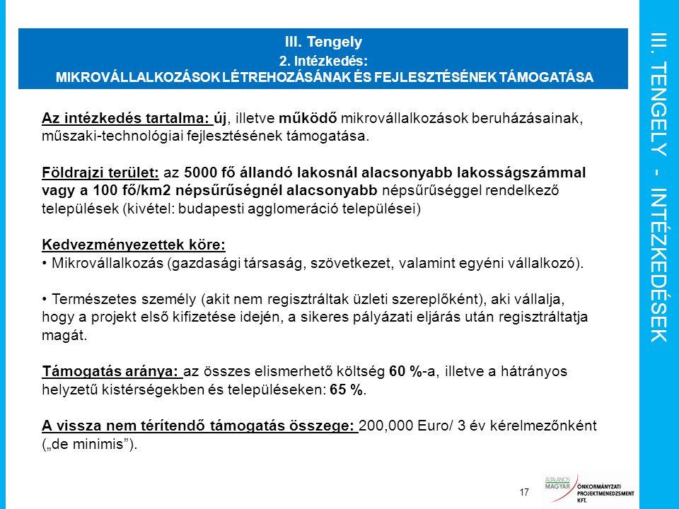 III. TENGELY - INTÉZKEDÉSEK Projekt menedzsment funkciók 17 III. Tengely 2. Intézkedés: MIKROVÁLLALKOZÁSOK LÉTREHOZÁSÁNAK ÉS FEJLESZTÉSÉNEK TÁMOGATÁSA