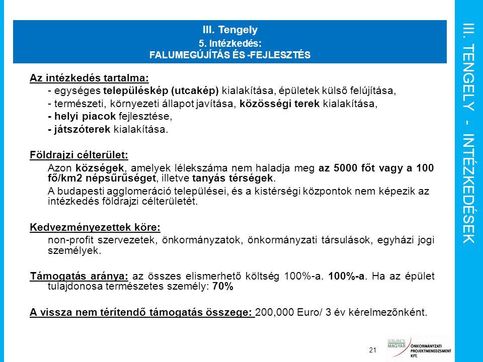 III. TENGELY - INTÉZKEDÉSEK Szponzor 21 III. Tengely 5. Intézkedés: FALUMEGÚJÍTÁS ÉS -FEJLESZTÉS Az intézkedés tartalma: - egységes településkép (utca