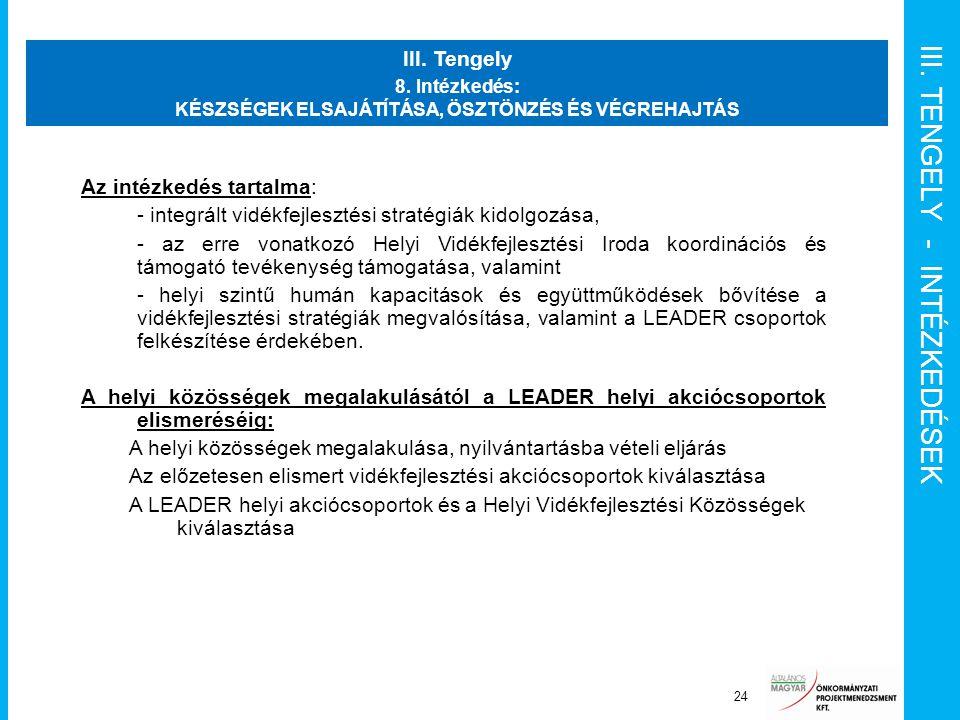 III. TENGELY - INTÉZKEDÉSEK Projektvezető 24 III. Tengely 8. Intézkedés: KÉSZSÉGEK ELSAJÁTÍTÁSA, ÖSZTÖNZÉS ÉS VÉGREHAJTÁS Az intézkedés tartalma: - in