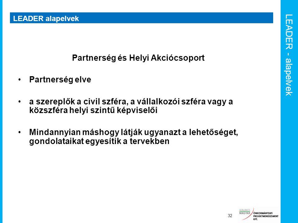 LEADER - alapelvek LEADER alapelvek 32 Partnerség és Helyi Akciócsoport Partnerség elve a szereplők a civil szféra, a vállalkozói szféra vagy a közszf