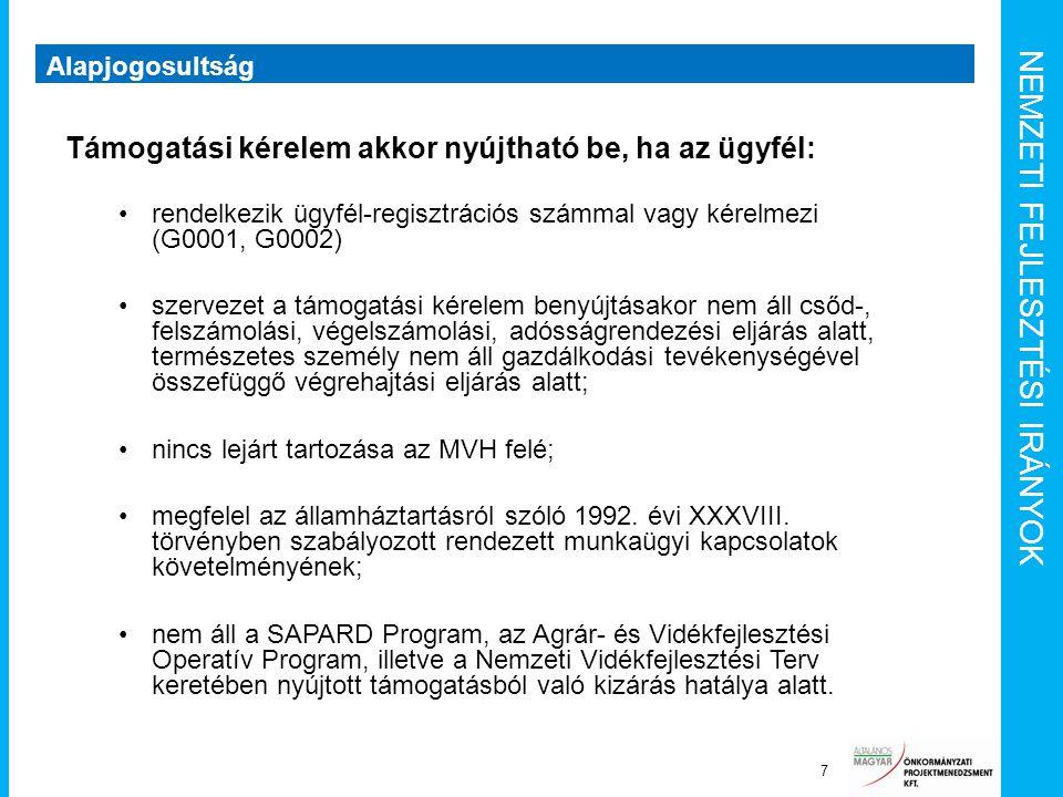 NEMZETI FEJLESZTÉSI IRÁNYOK Alapjogosultság 7 Támogatási kérelem akkor nyújtható be, ha az ügyfél: rendelkezik ügyfél-regisztrációs számmal vagy kérel