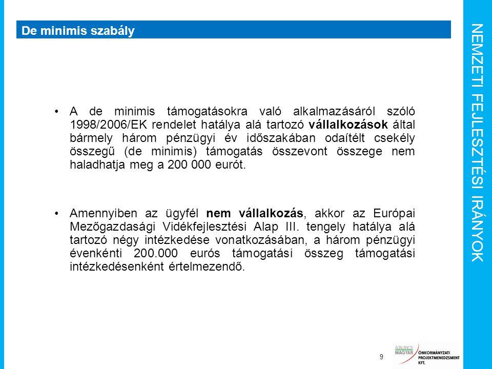 NEMZETI FEJLESZTÉSI IRÁNYOK De minimis szabály 9 A de minimis támogatásokra való alkalmazásáról szóló 1998/2006/EK rendelet hatálya alá tartozó vállal