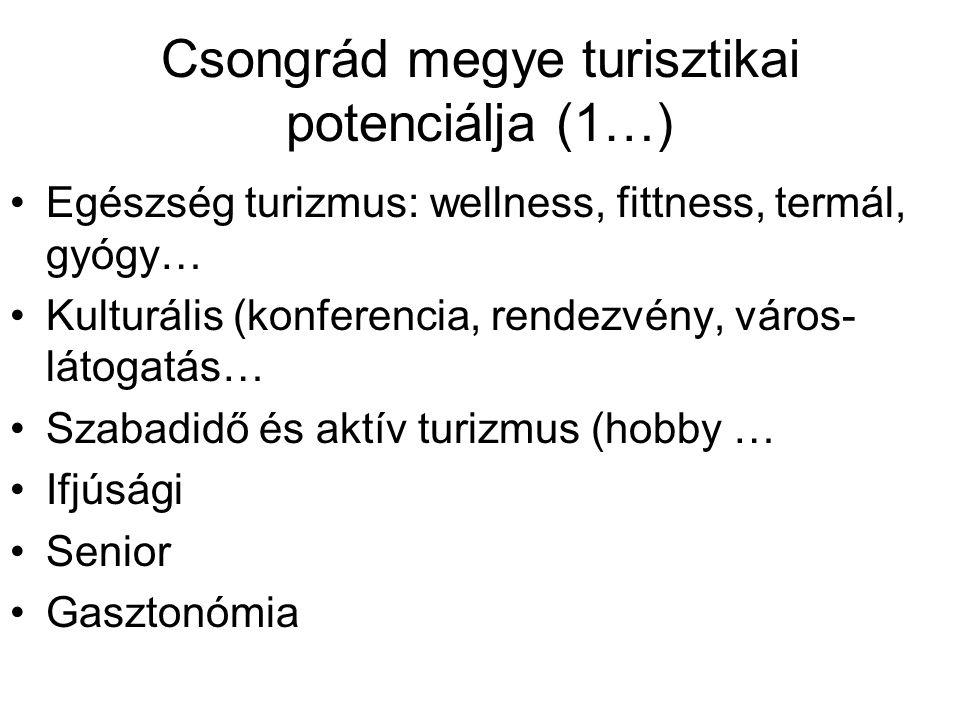 Csongrád megye turisztikai potenciálja (1…) Egészség turizmus: wellness, fittness, termál, gyógy… Kulturális (konferencia, rendezvény, város- látogatá