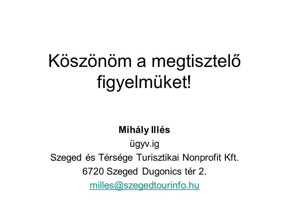 Köszönöm a megtisztelő figyelmüket! Mihály Illés ügyv.ig Szeged és Térsége Turisztikai Nonprofit Kft. 6720 Szeged Dugonics tér 2. milles@szegedtourinf