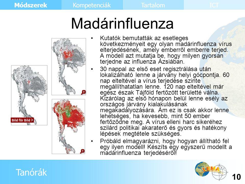 Tanórák Módszerek 10 KompetenciákTartalomICT Kutatók bemutatták az esetleges következményeit egy olyan madárinfluenza vírus elterjedésének, amely embe