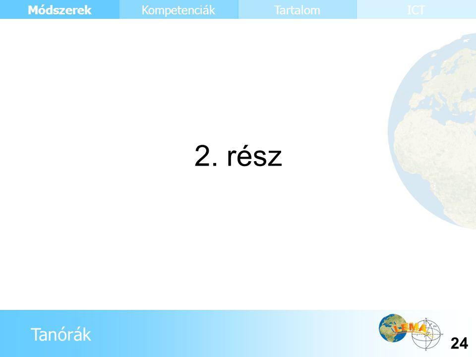 Tanórák Módszerek 24 KompetenciákTartalomICT 2. rész