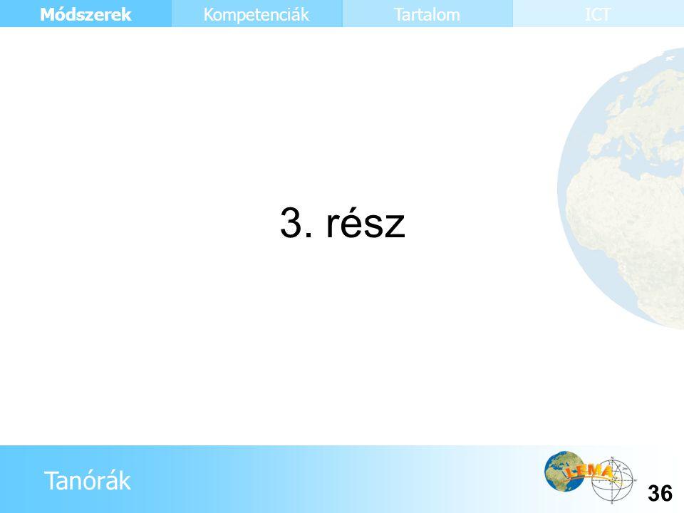 Tanórák Módszerek 36 KompetenciákTartalomICT 3. rész
