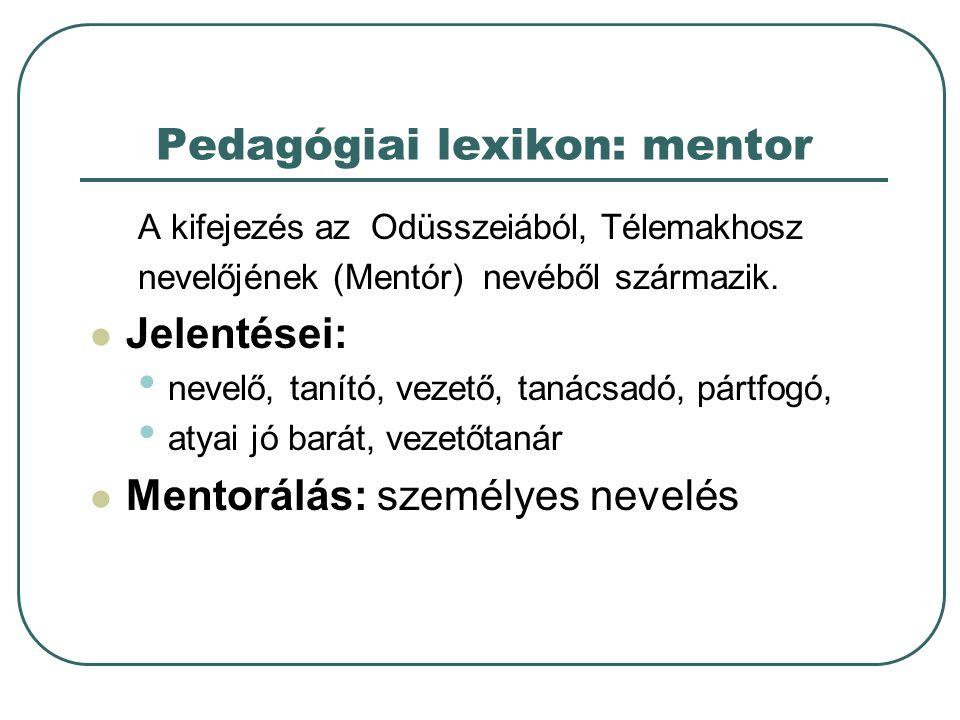 Pedagógiai lexikon: mentor A kifejezés az Odüsszeiából, Télemakhosz nevelőjének (Mentór) nevéből származik.