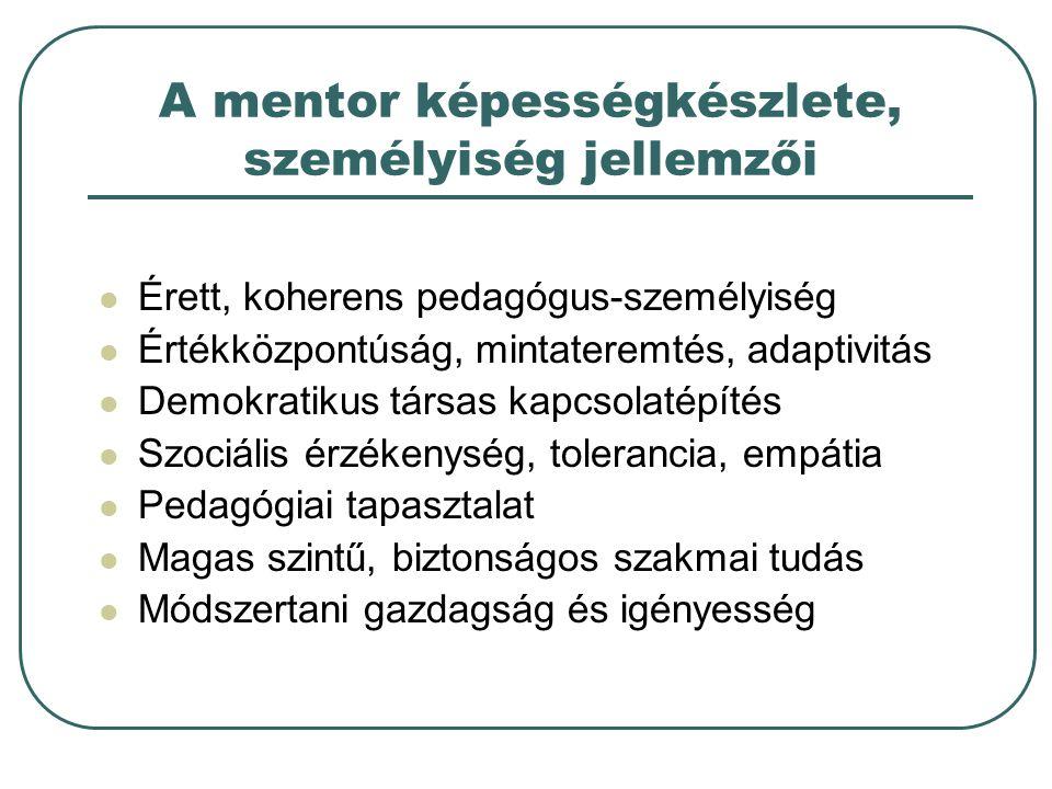A mentor képességkészlete, személyiség jellemzői Érett, koherens pedagógus-személyiség Értékközpontúság, mintateremtés, adaptivitás Demokratikus társas kapcsolatépítés Szociális érzékenység, tolerancia, empátia Pedagógiai tapasztalat Magas szintű, biztonságos szakmai tudás Módszertani gazdagság és igényesség