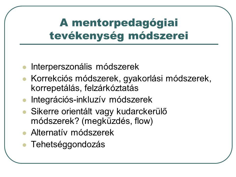 A mentorpedagógiai tevékenység módszerei Interperszonális módszerek Korrekciós módszerek, gyakorlási módszerek, korrepetálás, felzárkóztatás Integrációs-inkluzív módszerek Sikerre orientált vagy kudarckerülő módszerek.