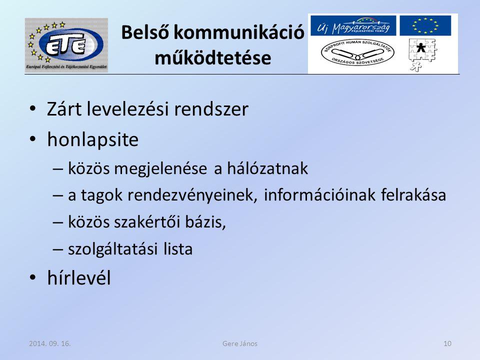 Belső kommunikáció működtetése Zárt levelezési rendszer honlapsite – közös megjelenése a hálózatnak – a tagok rendezvényeinek, információinak felrakása – közös szakértői bázis, – szolgáltatási lista hírlevél Gere János2014.