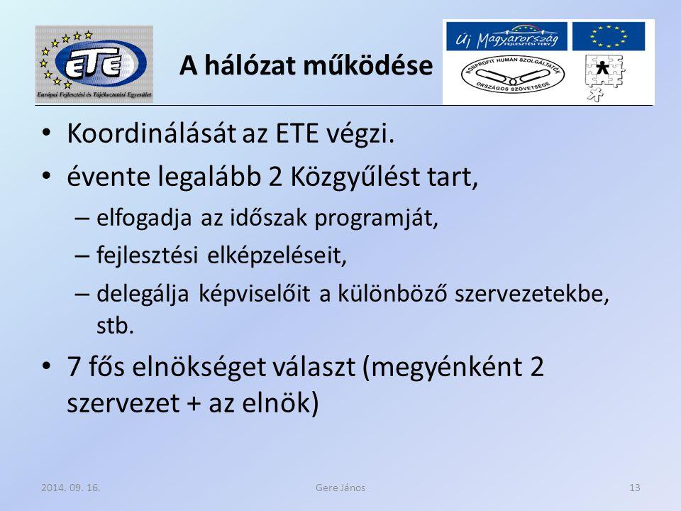 A hálózat működése Koordinálását az ETE végzi.